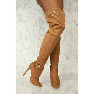 Camel suede buckle thigh high boots
